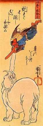 Tengu ; corbeau japonais dans CORBEAU 150px-elephant_catching_a_flying_tengu