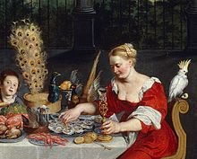 220px-Peacock_served_in_full_plumage_(detail_of_BRUEGHEL_Taste,_Hearing_and_Touch)