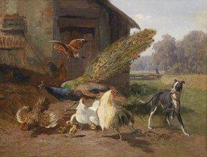 315px-Carl_Jutz_Hund_im_Geflügelhof_1872