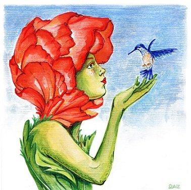 oiseau baise fleur